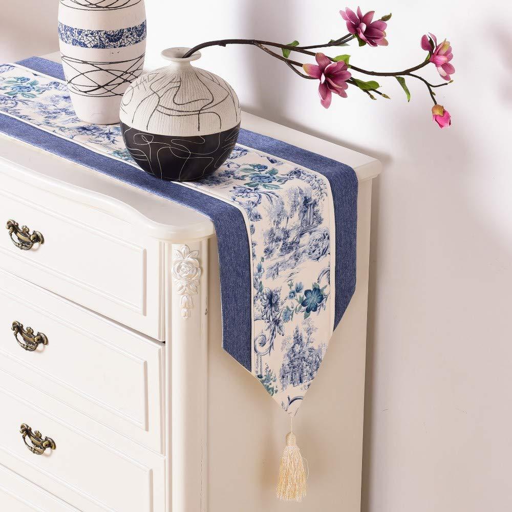 Twill Runners, Table Runners Artículos para el hogar clásicos chinos, mantel de bandera de mesa familiar - azul, 32 * 180 cm