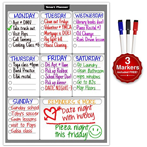 Smart Planner Weekly Multi-Purpose Magnetic Refrigerator Dry Erase Board with 3 Magnetic Dry Erase Markers by...