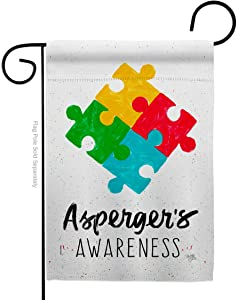 Breeze Decor Asperger's Garden Flag Support Awareness Inspirational Survivor Ribbon Prevention Cancer Autism Breast BLM House Decoration Banner Small Yard Gift Double-Sided, Made in USA
