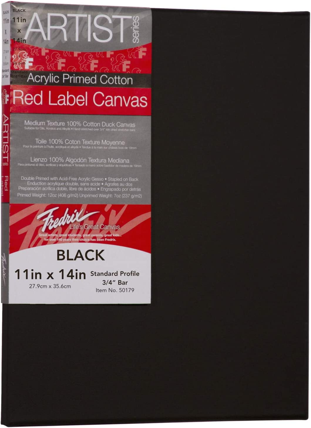 x 14 in each Fredrix Red Label Black Stretched Cotton Canvas 11 in