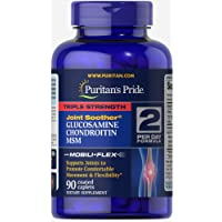 Puritan's Pride Triple Strength Glucosamine, Chondroitin & MSM Joint Soother, 90 Coated Caplets