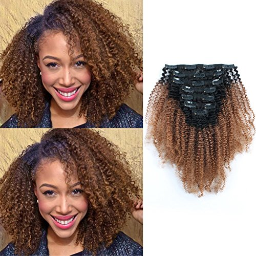 AmazingBeauty 3C 4A Big Afro Curly Ombre Hair Extensions Double Weft Real Remy Human Hair for African American, Two Tone Clip In Hair Extensions, Natural Black Fading into Light Auburn TN30, 20 Inch