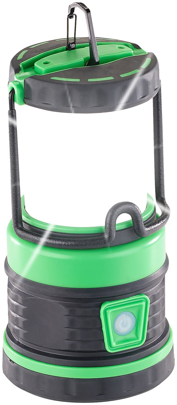Lunartec Camping Laterne Akku: 3in1-LED-Akku-Campinglaterne mit Deckenlicht und Powerbank, 3.600 mAh (Camping Laterne LED Akku)