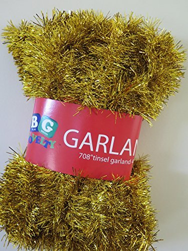 "Gold Foil Tinsel Christmas Garland 708"" (59 Feet) By Blue Green Novelty"