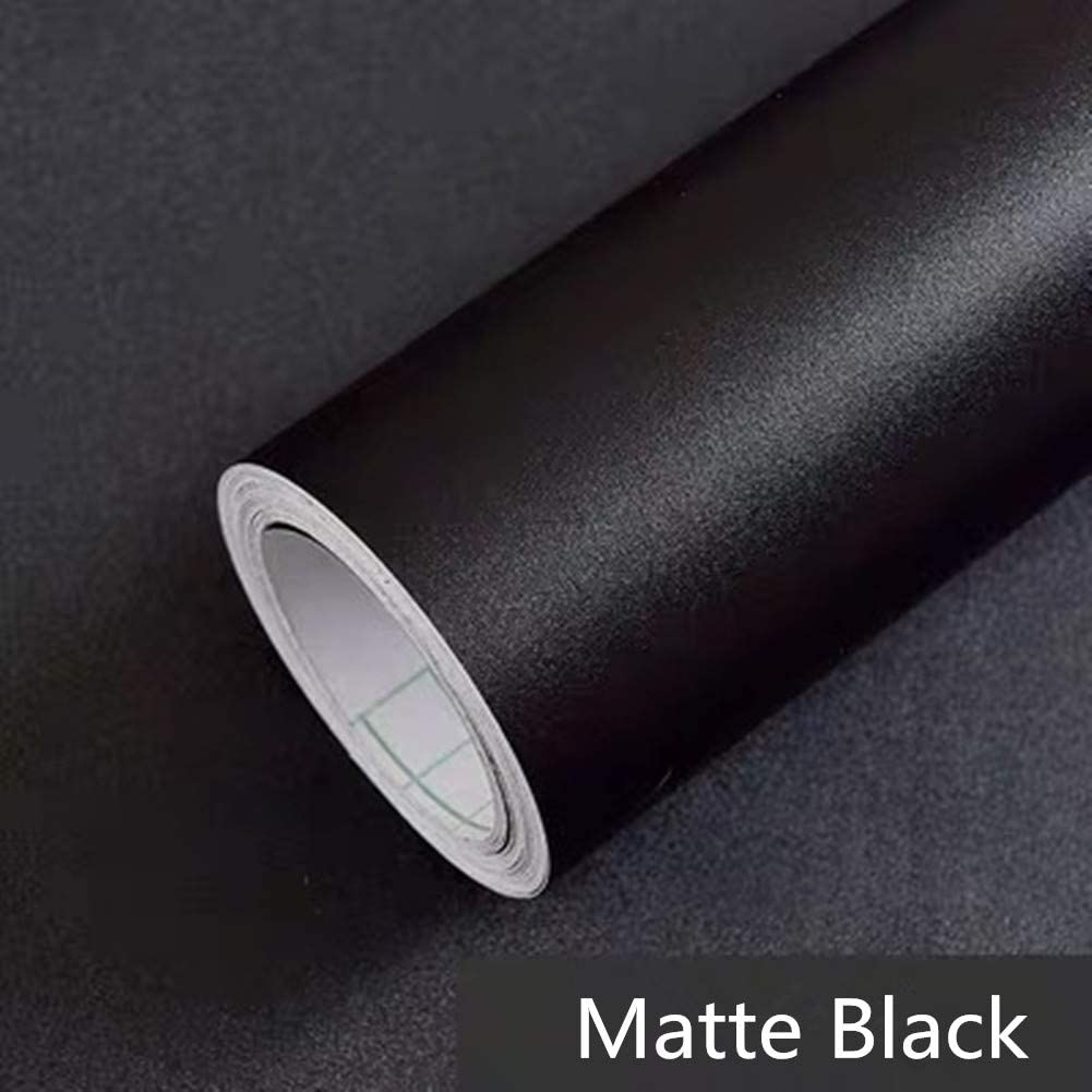 "Yancorp Matte Black Wallpaper Plain Contact Paper Vinyl Film Self-Adhesive Shelf Liner Drawer Peel-Stick Countertop Removable (16""x120"", Black)"