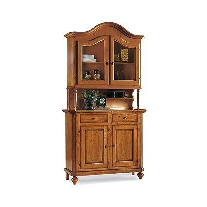 Credenza con vetrina, stile classico, in legno massello e mdf con ...