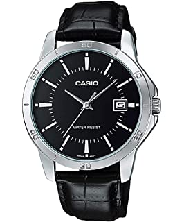 Casio #MTP-V004L-1A Mens Stainless Steel Leather Band Black Dial Date Watch