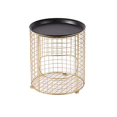 ACZZ Mesa auxiliar de sofá, hierro Simple Nordic Mini mesa de café Sala de estar Creativa redonda Sofá móvil Cesta de almacenamiento,Oro: Bricolaje y herramientas