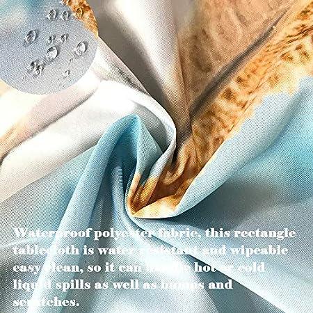 Fansu Manteles de Mesa Rectangular para Decorar, Impermeable Antimanchas Comedor Cuadrada Mariposa de Impresión Manteles para Cocina/Cena/Picnic Decoración (Naranja Rojo,140x260cm)