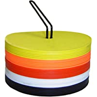 Pepup Rubber Flat Agility Dot Marker with Hole, Pack of 20, Multi-Color with Metal Stand   Soft Round Flexible Spot Marker   Anti Slip Skid Rubber   Indoor and Outdoor Marker, 15 cm Diameter