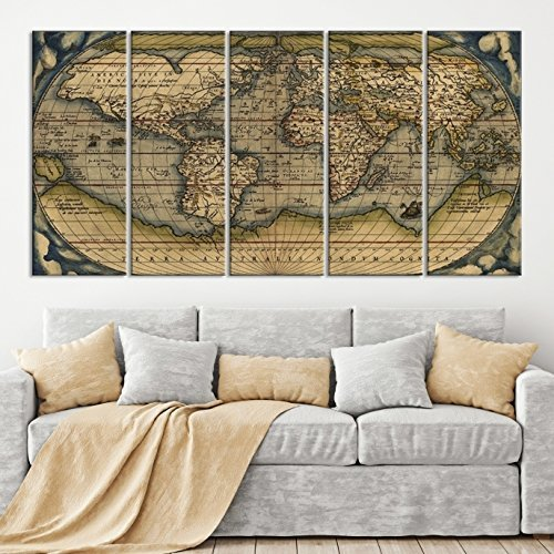 Amazon 5 panel antique world map canvas print old world map 5 panel antique world map canvas print old world map wall art large world gumiabroncs