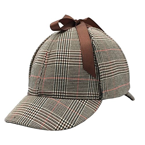Sherlock Holmes Hat, England Unisex Sherlock Holmes Detective Hat Deerstalker Classic Version Cos Daily Play for Adults and -