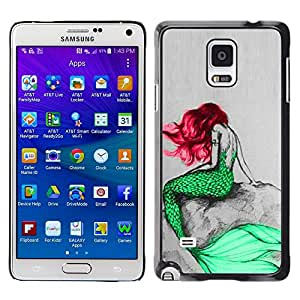 Plastic Shell Protective Case Cover || Samsung Galaxy Note 4 SM-N910 || Mermaid Green Red Hair Tail Ocean Fairy Tale @XPTECH
