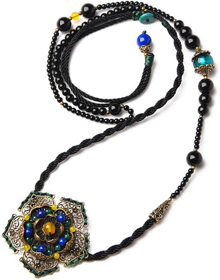 J.Memi's Flor Collar Piedras Preciosas Diseño Asimétrico Estilo Nacional Broche De Imitacion Joyería Cumpleaños Regalo