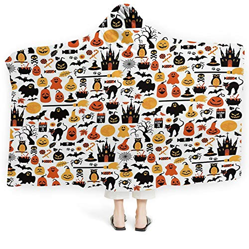 iPrint Baby Hooded Blanket Harvest Great Anxiety Autism Sensory Processing Disorder Maple Tree Frame Rustic Composition Thanksgiving Halloween Dinner Food (Kids 50