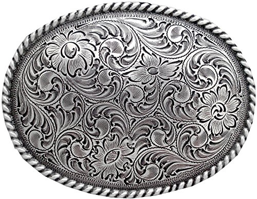 Western Sterling Silver Finish Small Trophy Belt Buckle in Rodeo Ranger Style