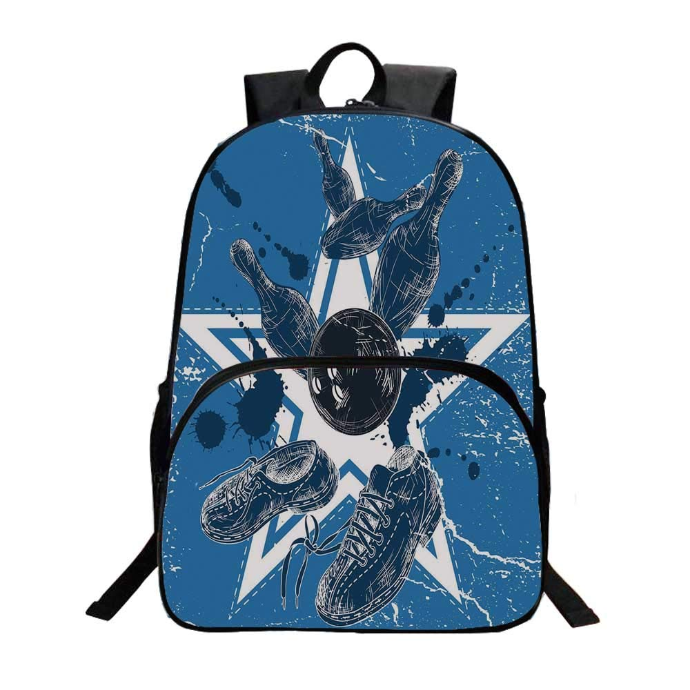 Bowling Party Decorations Fashionable Backpack,Grunge Composition Star Figure Color Splashes Shoes Pins for Boys,11.8''L x 6.2''W x 15.7''H