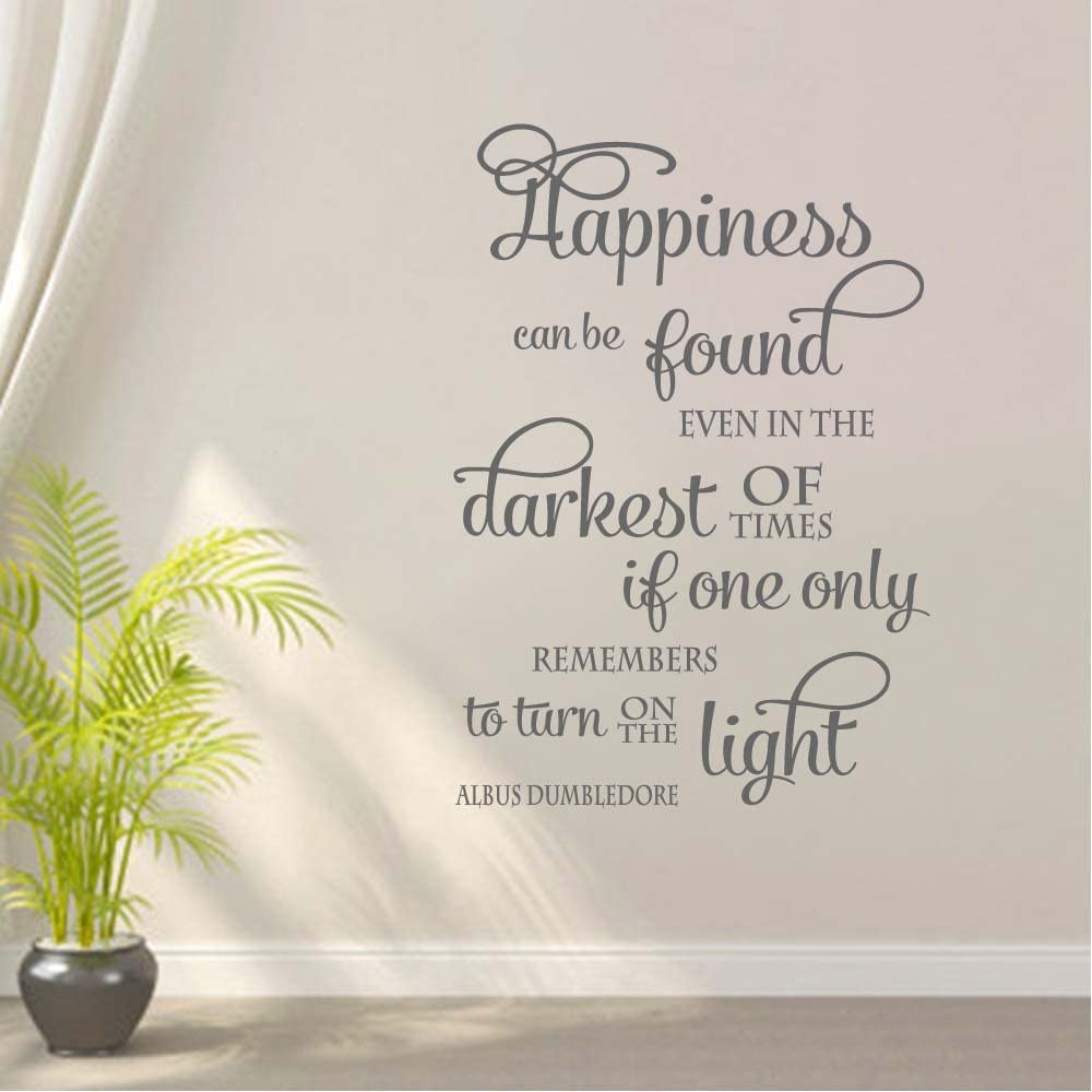 BATTOO Happiness can be Found Wall Decal Quote Wall Decor - Nursery Baby Children Wall Decals Lettering - Vinyl Wall Decal Sticker(Dark Gray, 15.5