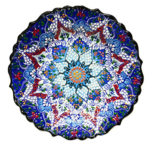 Nazar Turkish Imports ~Ceramic Plate~10 inch-25cm-navy