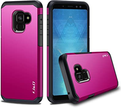 J&D Case Compatible for Galaxy A8 2018 Case, Heavy Duty Dual Layer Hybrid Shock Proof Protective Rugged Bumper Case for Samsung Galaxy A8 (Release in ...