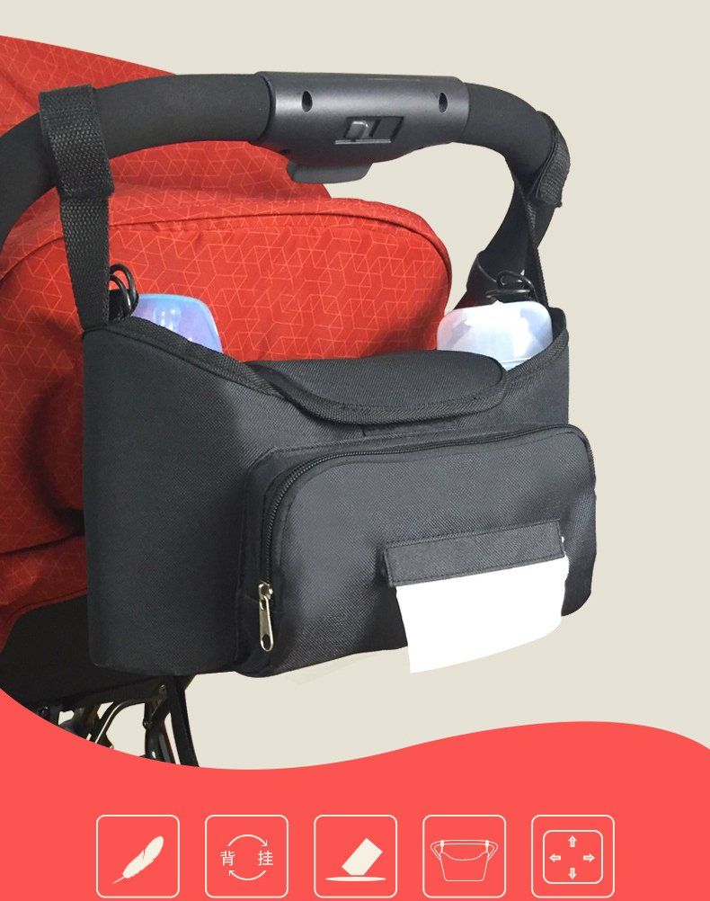 Baby Jogger Stroller Organizer bags - Carriage Bag with Shoulder Strap Diaper Bag with Cup Holder for iPhones, Wallets Moontisa