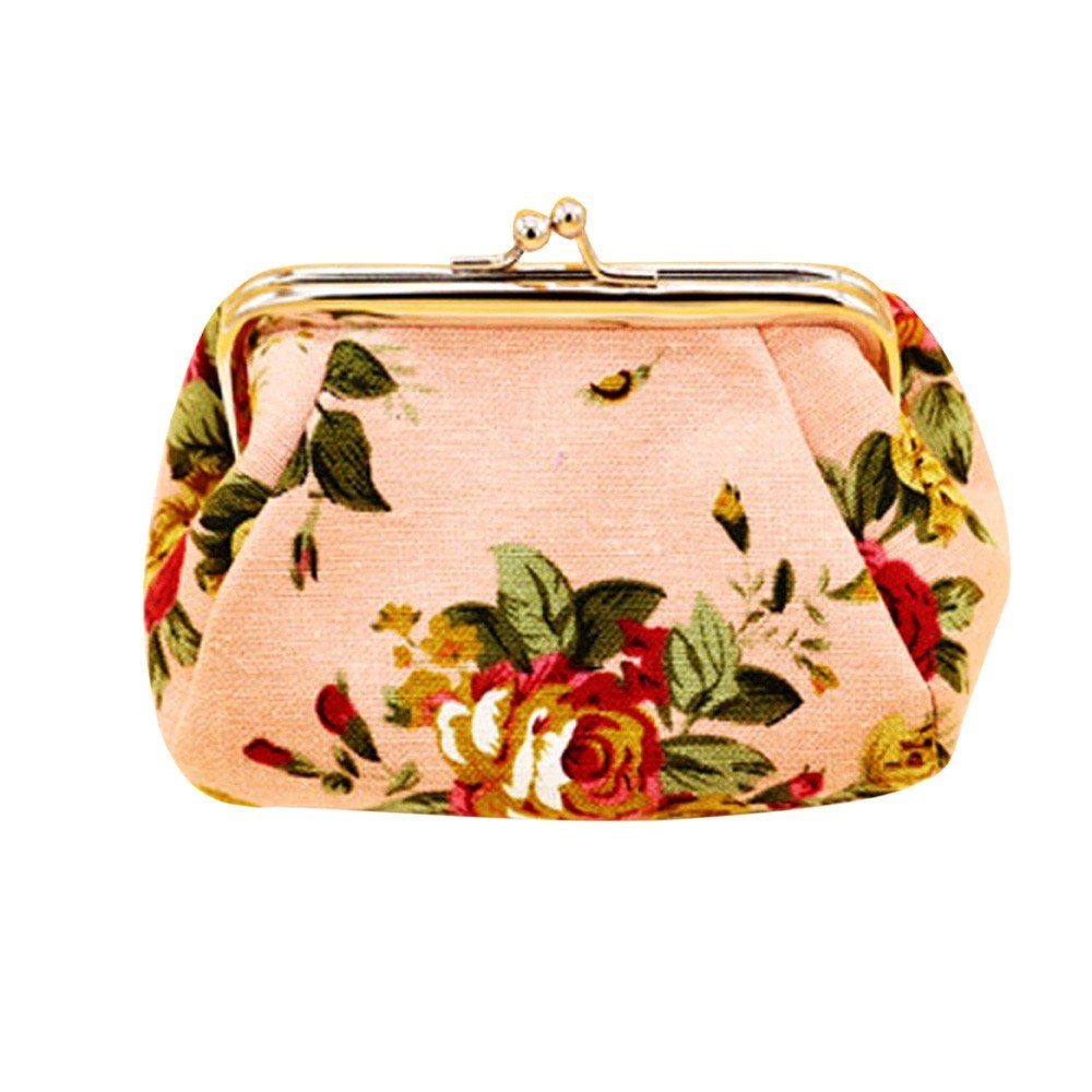 Cleanrance Floral Coin Purse for Women Teen Girls Canvas Retro Vintage Floral Exquisite Clasp Buckle Change Pouch Keys Jewelry ID Bank Cards Holder Case Flowers Wallet Cheap Gift for Women (Black) charminglady-001