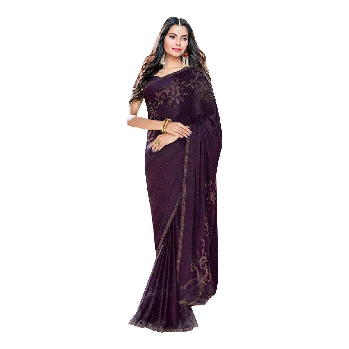 d4c7cd8954d07 Amazon.com  New Hot Sexy Bollywood Satin Printed Seroski Swarovski Work  Saree Sari Blouse Women Wedding Ceremony Party Wear Satin BALAJI Emporium   Clothing
