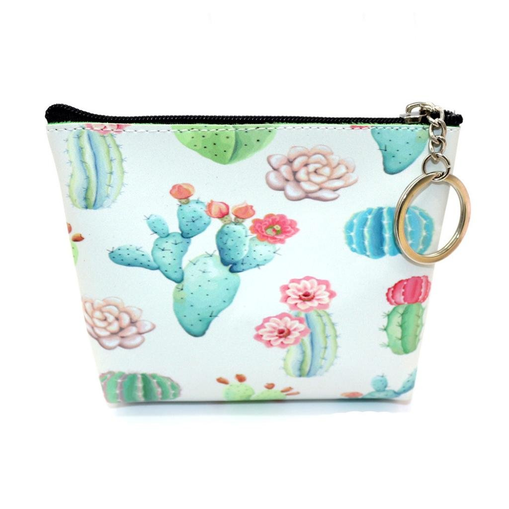 Women Girls Print Flower Snacks Coin Purse Wallet Bag Pouch Key Holder Bag (C)