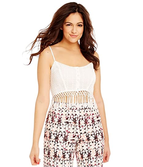 Aeropostale Womens Crochet Fringed Bustier Blouse Off-White XL - Juniors b52de1ff5
