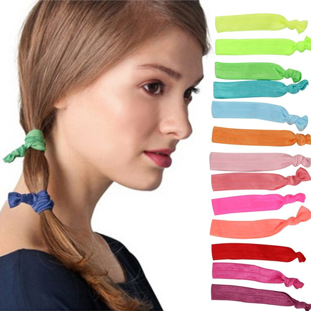 Sungpunet Beauty Hair Ties Colorful Ribbon Hair Bands Girl Hair Accessories, 100 Counts Assorted Colors PHTL