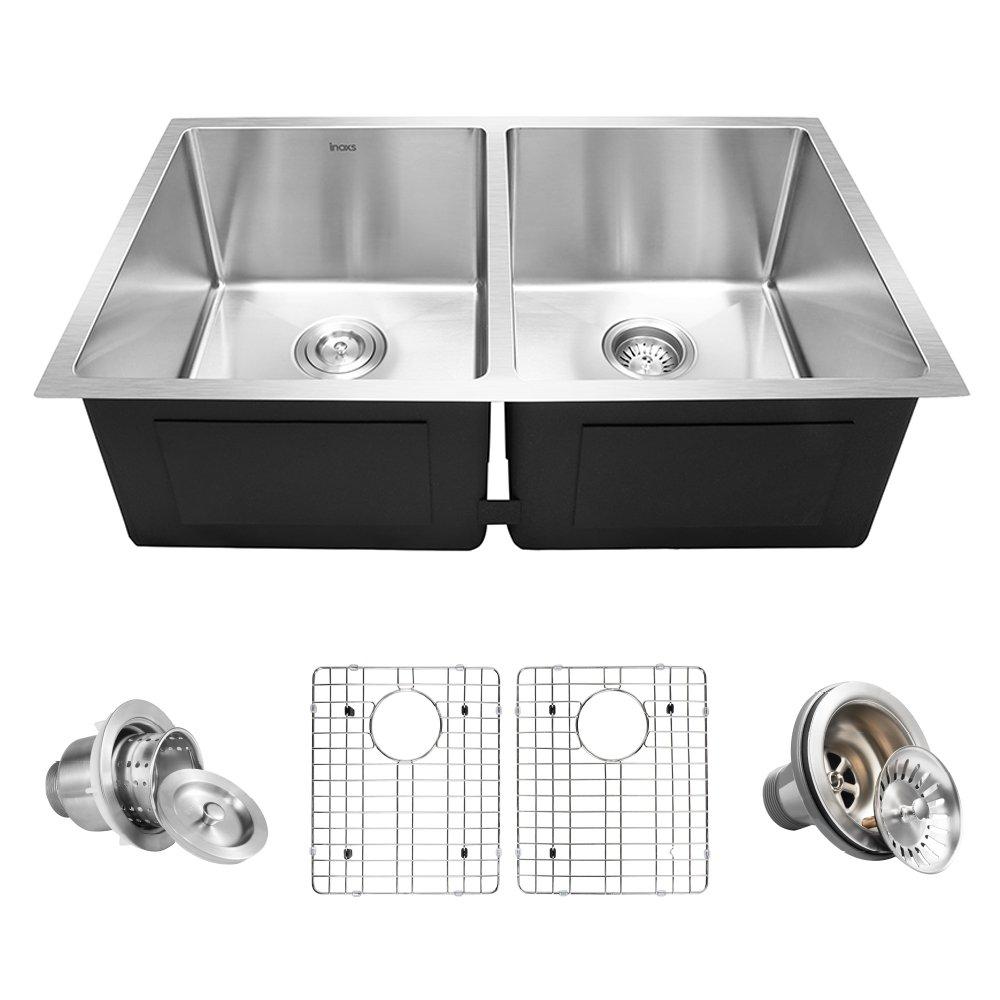 Inoxs 32'' x 19'' x 10'' Undermount 50/50 Double Bowl 16 Gauge Handmade Stainless Steel Kitchen Sink/I-UD3219