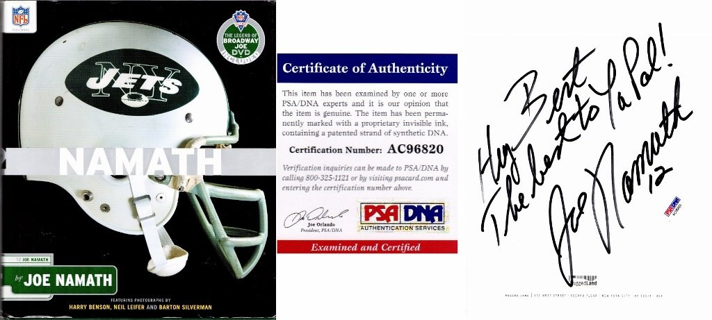 Joe Namath Signed Autographed Personalized TO BERT Hardcover Book and DVD with PSA/DNA Certificate of Authenticity (COA) New York Jets