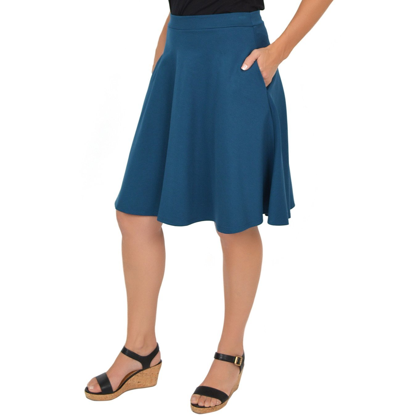b9b0cab3bd Stretch is Comfort Women's Circle Skirt with Pockets at Amazon Women's  Clothing store: