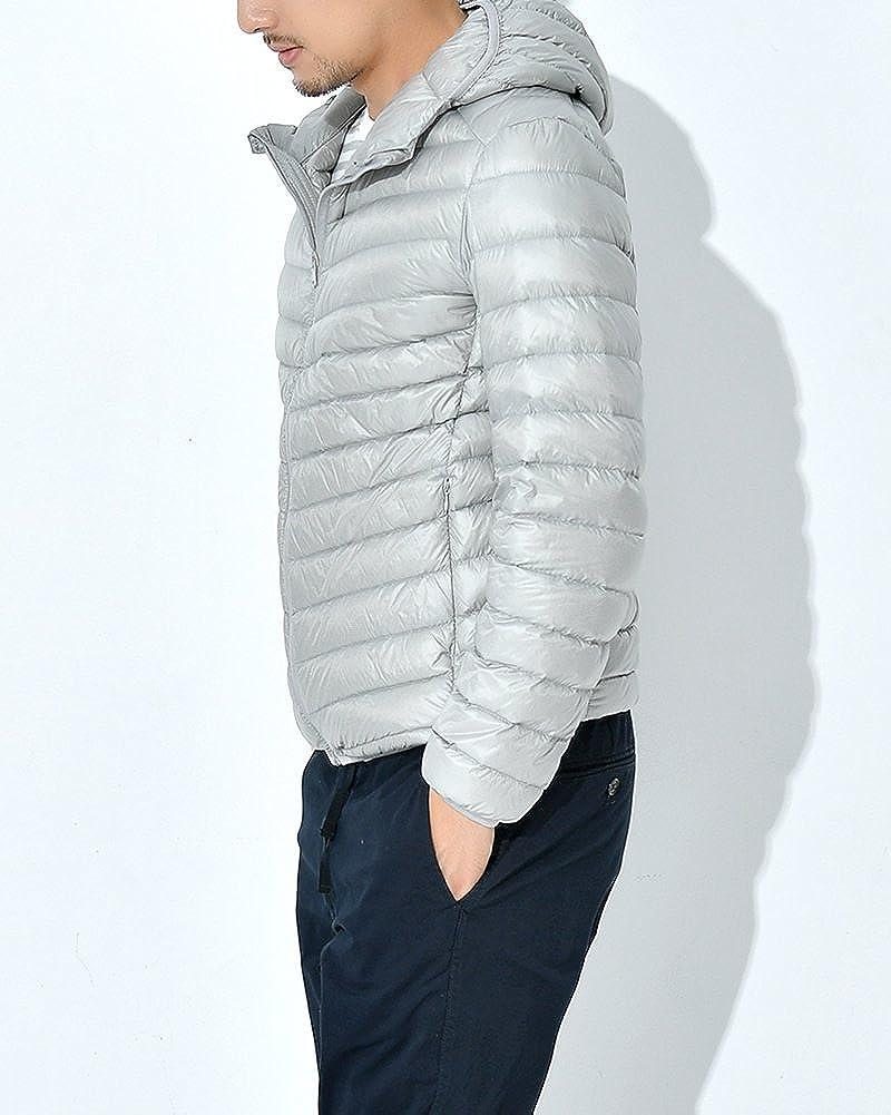 ZhuiKun Chaqueta Plumas Hombres Hooded Rompevientos Compresible Ligero Abrigo de Invierno