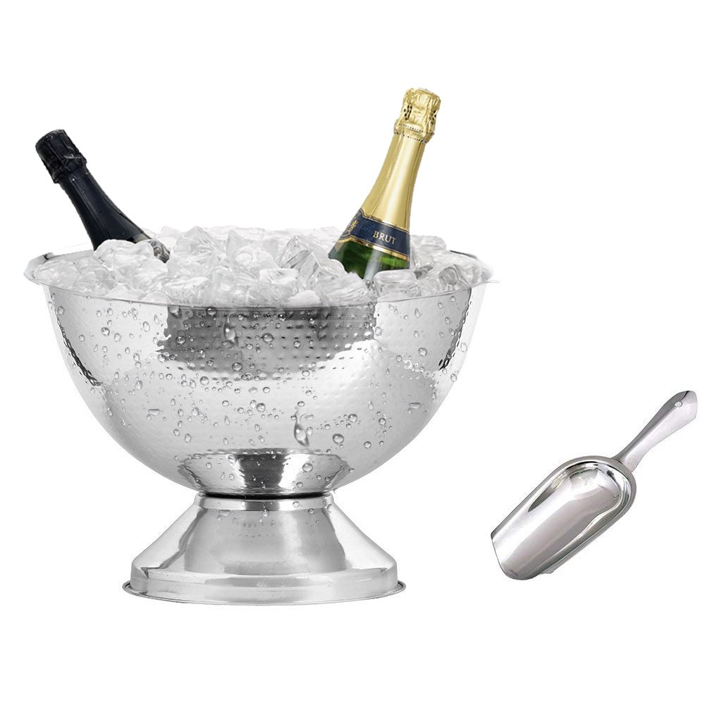 Kosma Stainless Steel Punch Bowl | Champagne Beer Wine Cooler - Hammered Finish with Free Ice Scoop (40 cm)