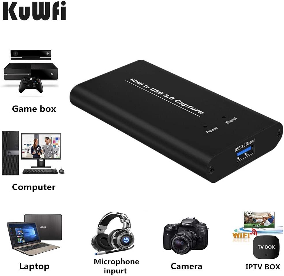 KuWFi Tarjeta de Dispositivo de Captura de Video HDMI a USB3.0 HD Conversores de Video Transmisión de Juegos Transmisión en Vivo Transmisión 1080P OBS/Vmix/Wirecast/skype