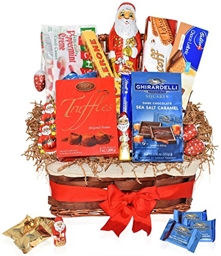 Christmas Chocolate Variety Gift Pack - Chocolate & Candy Mixed Gift Basket with Ghirardelli, Toblerone, Santa's, truffles, cookies and more