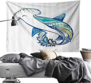Abstract Home Decor Bed Linen Tapestry Hammer Head Shark Ornate Underwater Sea Ocean Life Animals Marine Theme Image Tapestry for Room W84 x L54 Blue Aqua White