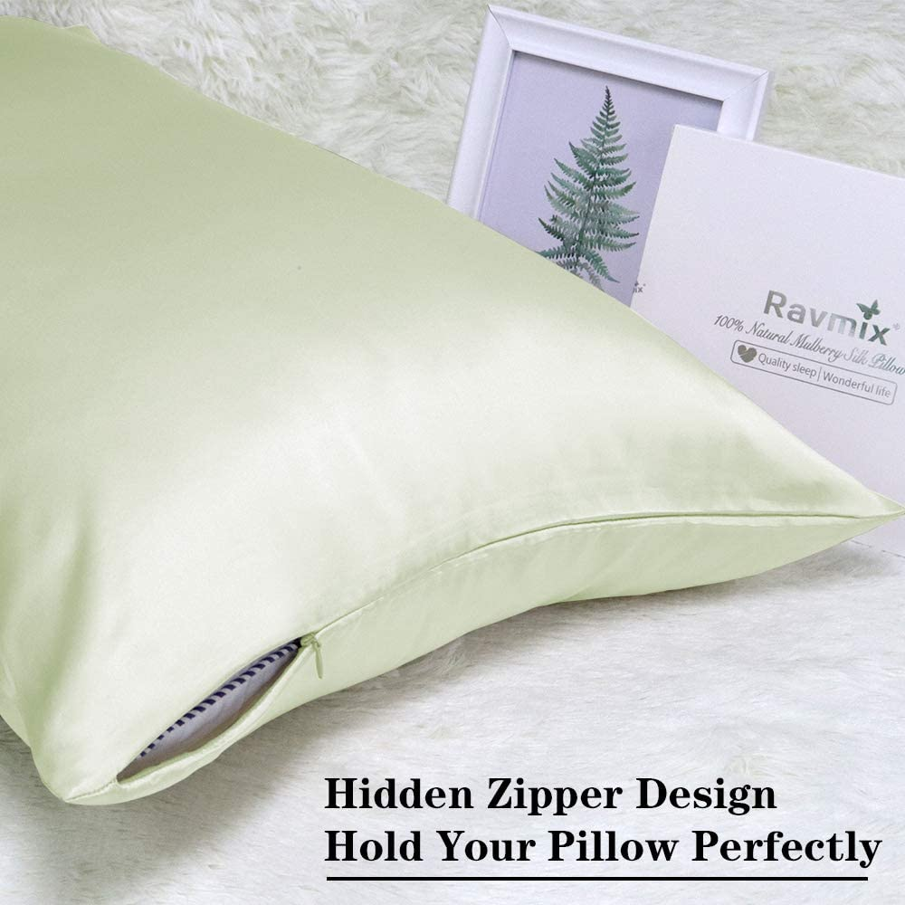 Ravmix Both Sides 100% Natural Mulberry Silk Pillowcase For Hair And Skin With Hidden Zipper, Both Side Soft Cool Breathable Silk, 20×26 Inches, 1pcs (standard, Bean Green) Home & Kitchen