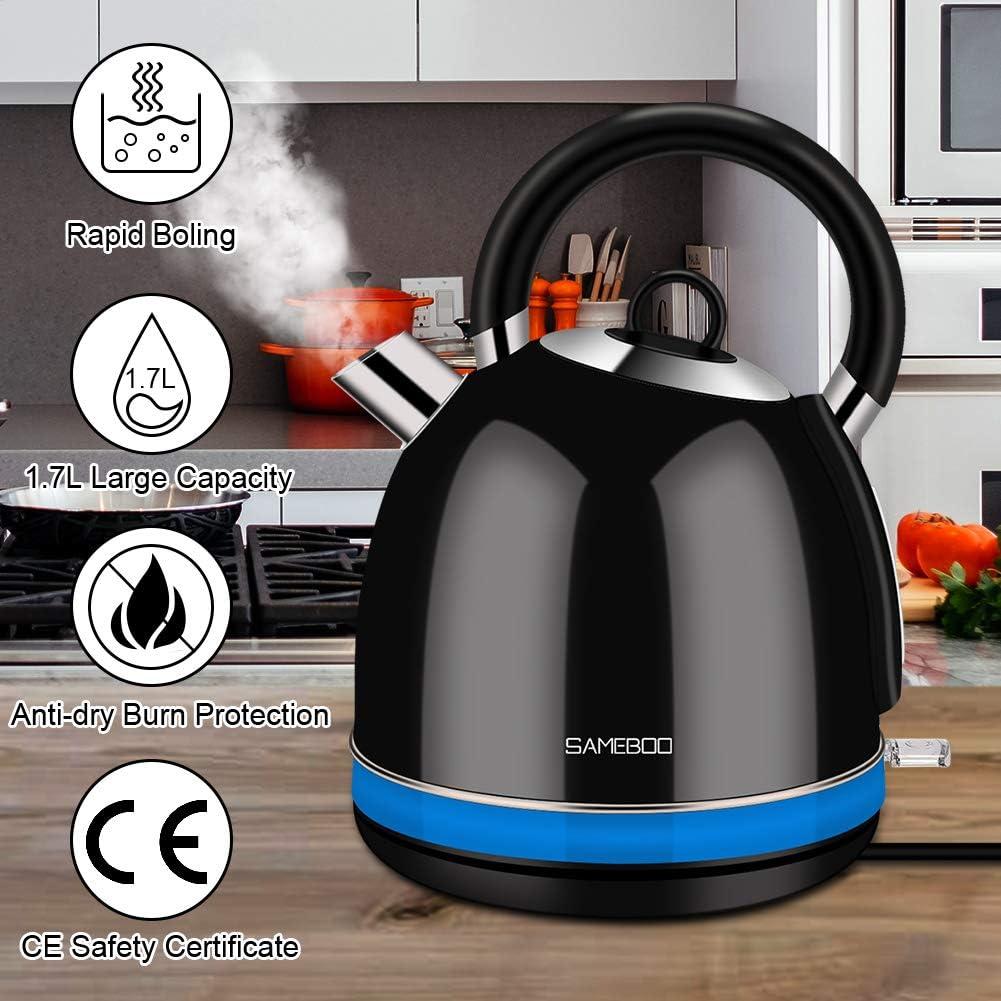 2200W Max Bouilloire Inox Vintage R/étro Thermostat Arr/êt Automatique Protection Anti-/ébullition /à Sec Th/éi/ère /Électrique Filtre Anti-calcaire 1,7L SAMEBOO Bouilloire /Électrique