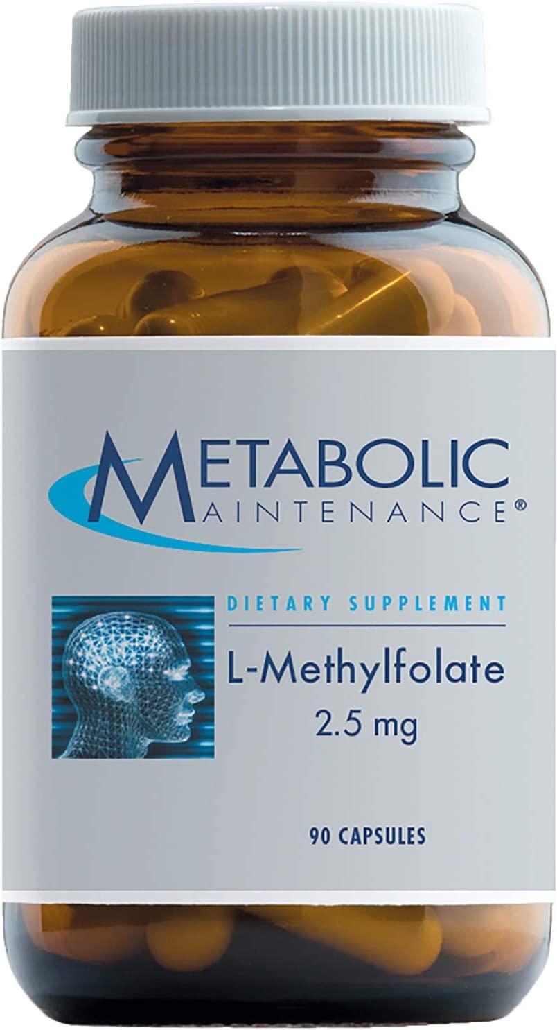 Metabolic Maintenance L-Methylfolate 2.5 Milligrams – Active Folate L-5-MTHF for Mood, Nerve Cardiovascular Support 90 Capsules