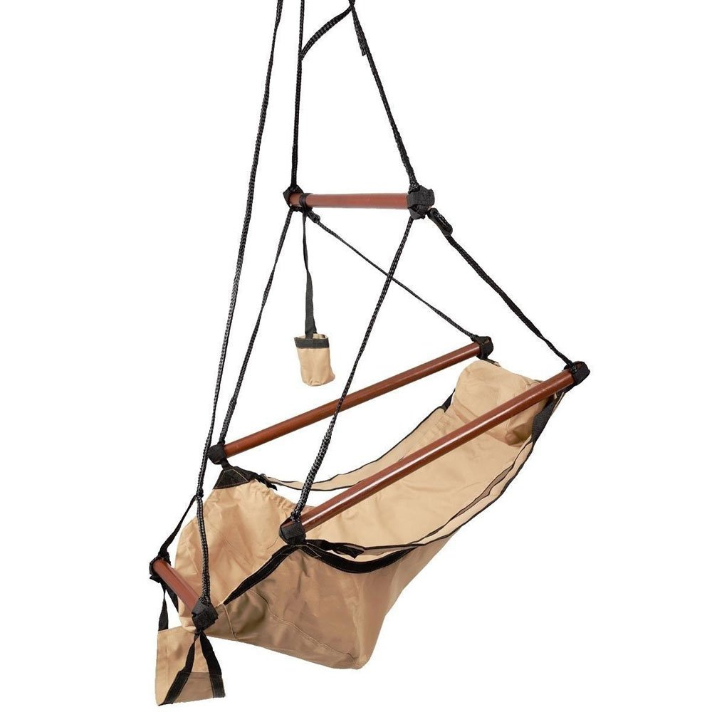Z ZTDM Hammock Hanging Chair, Air Deluxe Sky Swing Seat with Pillow and Drink Holder Solid Wood Indoor/Outdoor Garden Patio Yard 250lbs (Tan) by Z ZTDM (Image #4)