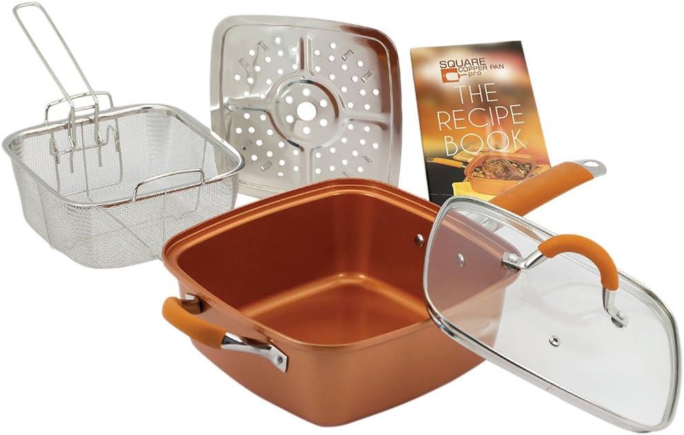 Copper Pan Pro sartén cuadrada de cobre y cerámica 24 cm: Amazon ...