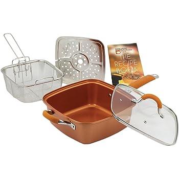 Amazon Com Bulbhead 11198 Red Copper Square Pan 5 Piece