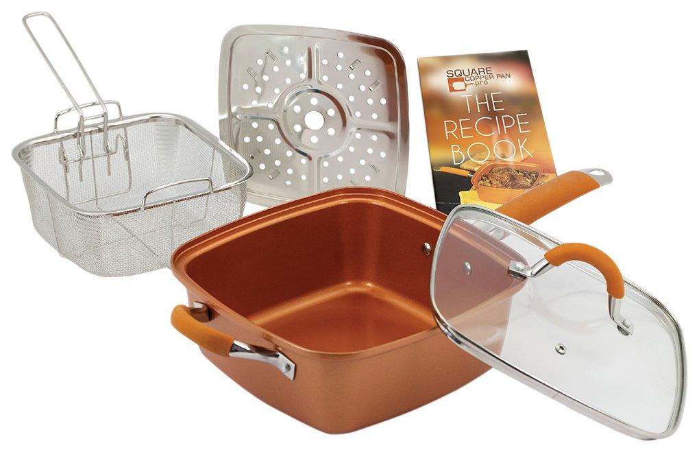 Copper Pan Pro sartén cuadrada de cobre y cerámica 24 cm: Amazon.es: Hogar