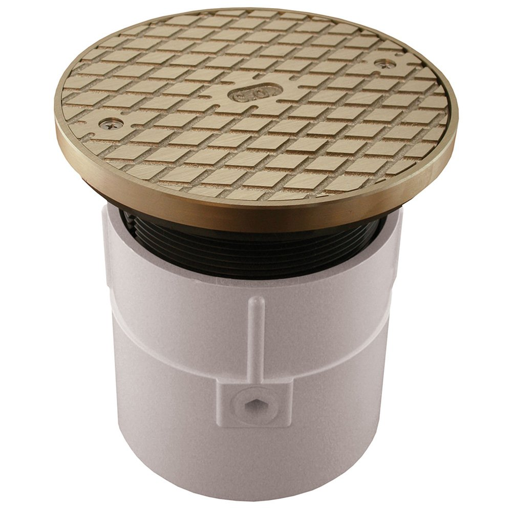 Jones Stephens, JS 4'' Over Pipe Fit Base Cleanout with 4'' Plastic Spud 6'' Nickel Bronze Round Cover with Ring PVC - C60073