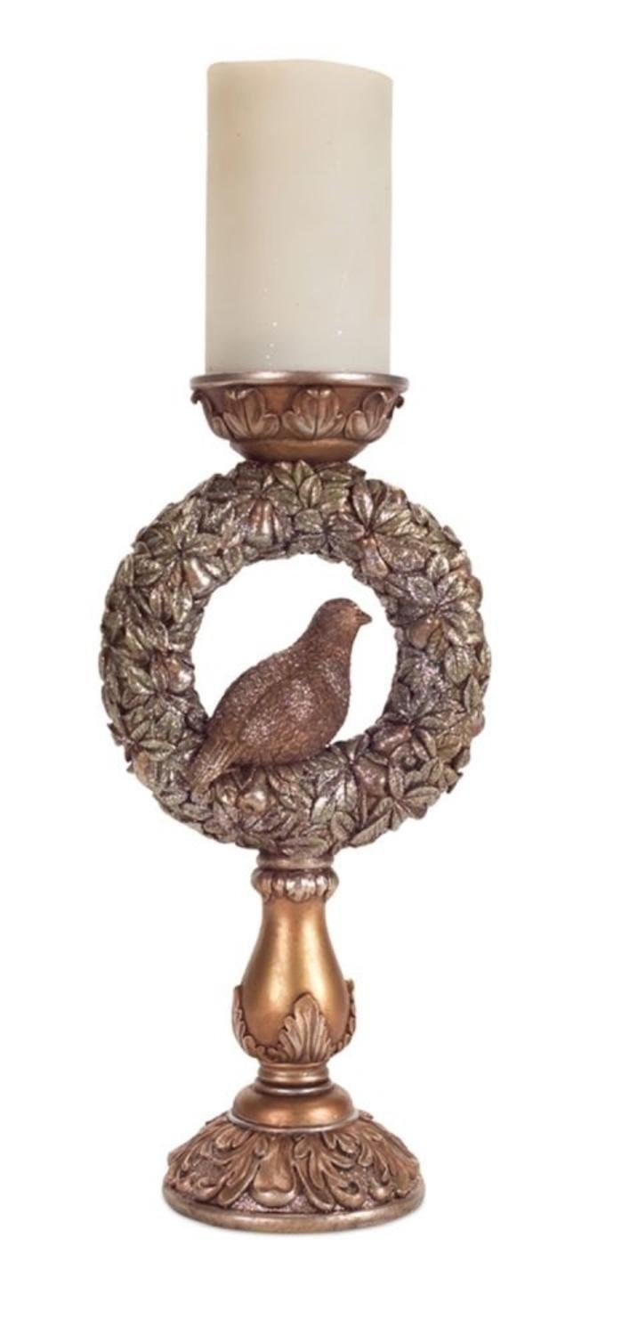 """Set of 2 Adorable Bronze Colored Partridge Wreath Pillar Candle Holders 13.5"""" by Melrose"""