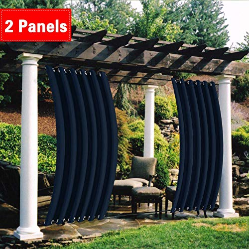 Macochico Navy Fade Resistant Outdoor Curtains for Patio Waterproof Drape Grommets at Top and Bottom Outdoor Curtains Panels for Pergola Garden Gazebo Porch Cabana 50Wx84L Inch(2 Panel) 84' Pole Top Drapery