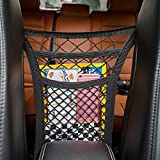 Semoss Multifuction Car Seat Organizer Net Mesh Storage Bag Holder with 4 Hooks,Car Armrests Seats Storage Organizer,Create space between seats for Kids / Pet Stuff with a Cargo Net Organizer,Double Layer Black