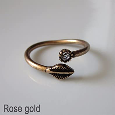 89cb1508bc66 Antique Vintage inspired Leaf Open Ring One size Fashion Jewellery  Burnished Ring  14 - Rose